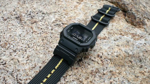 gshock dw5600 vario ballistic nylon yellow black stripe maratac nato strap with casio g shock adapter