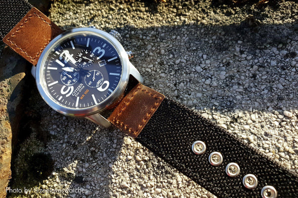 vario cordura oiled leather watch strap citizen