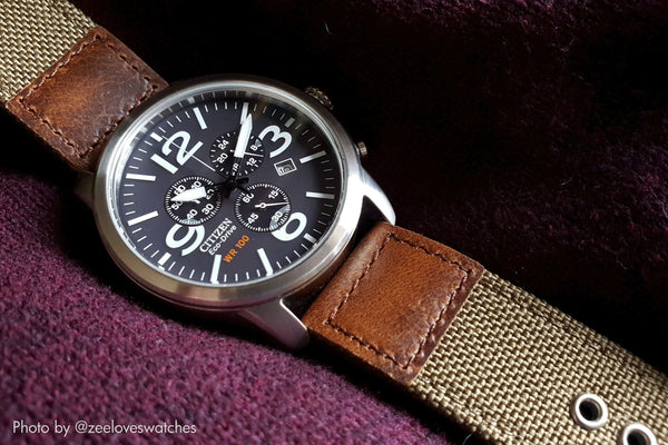 cordura oiled leather watch strap citizen