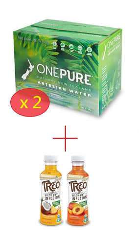Buy 2 Get 2 Free! ONEPURE STILL MINERAL WATER 10L CASE x 2  +  Treo Organic Birch Water 473ml x 2