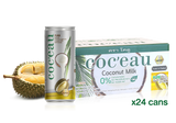 Coc'eau Coconut Milk with Durian flavor 240ml x 24 cans