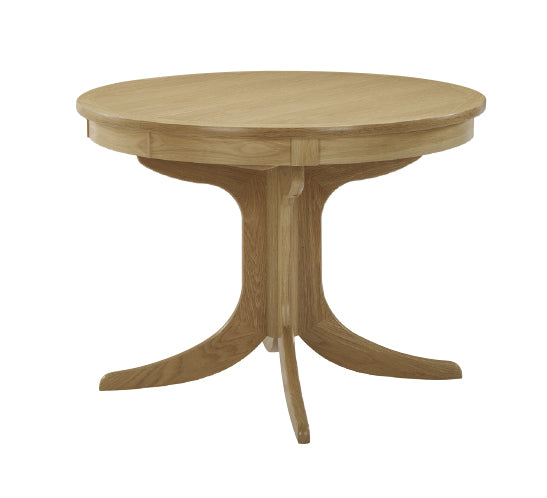 Shades Oak - Circular Dining Table with Sunburst Top on Pedestal