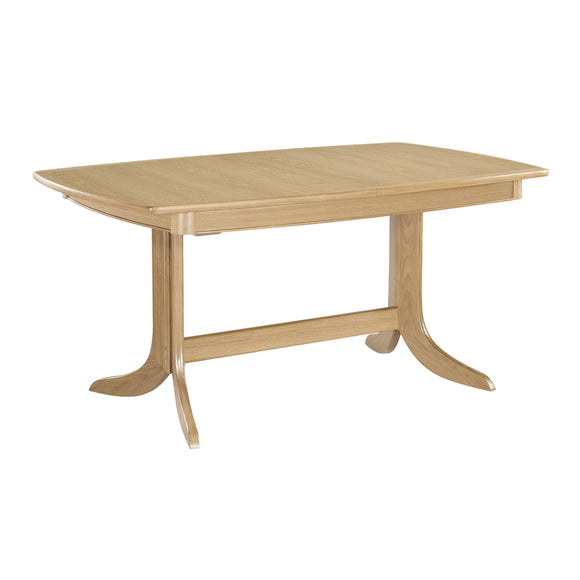 Shades Oak - Extending Boat Shaped Dining Table on Pedestal