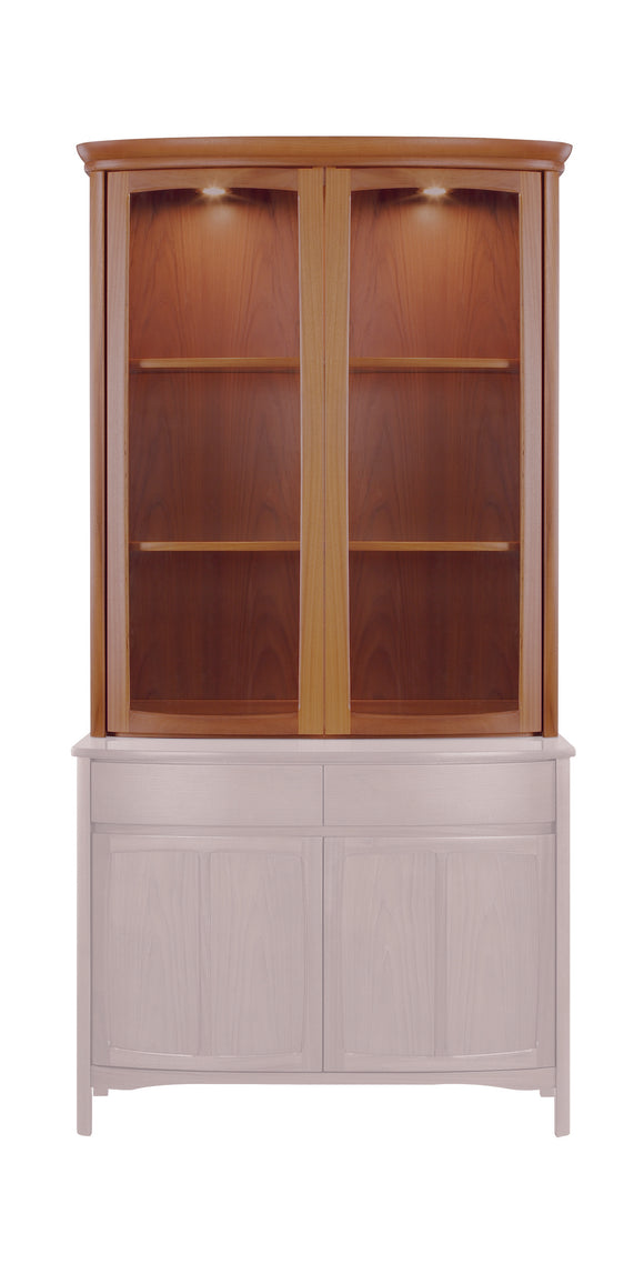 Shades Teak - Shaped 2 Glass Door Display Top Unit
