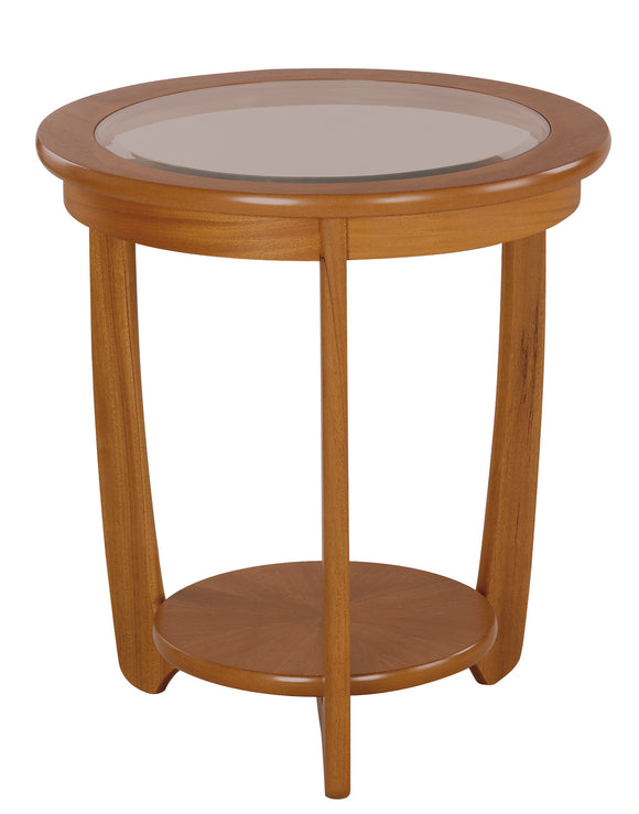 Occasionals Teak - Glass Top Round Lamp Table