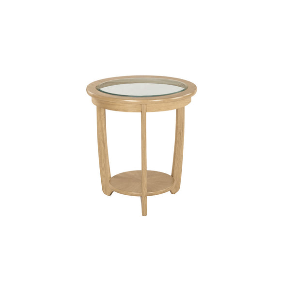 Occasionals Oak - Glass Top Round Lamp Table