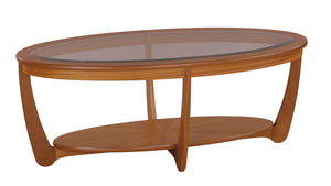 Occasionals Teak - Glass Top Oval Coffee Table