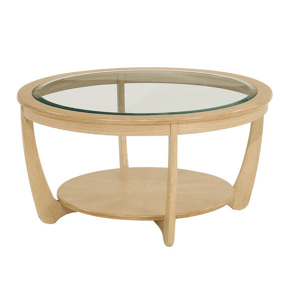 Occasionals Oak - Glass Top Round Coffee Table