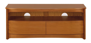 Shades Teak - Shaped TV unit with Drawers