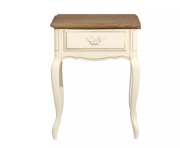 Provencale Oak and Ivory 1 Drawer Side Table