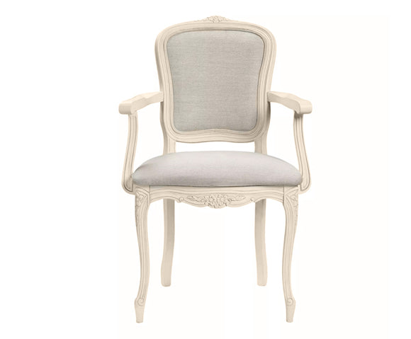 Provencale Ivory Carver Chair with Linen Seat and Back pads