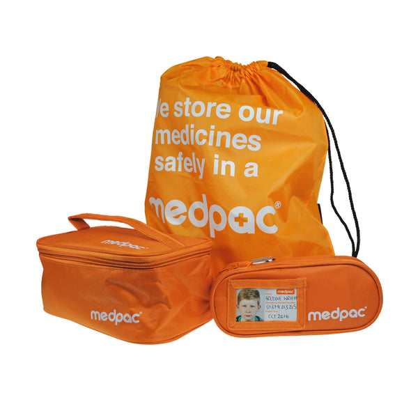 "medpac drawstring bag front view with ""we store our medicines safely in a medpac"" print and a large and a small medpac in front"