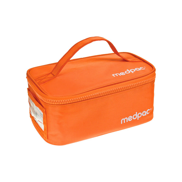 large medpac insulated front view with carry handle on top and ID card on the side