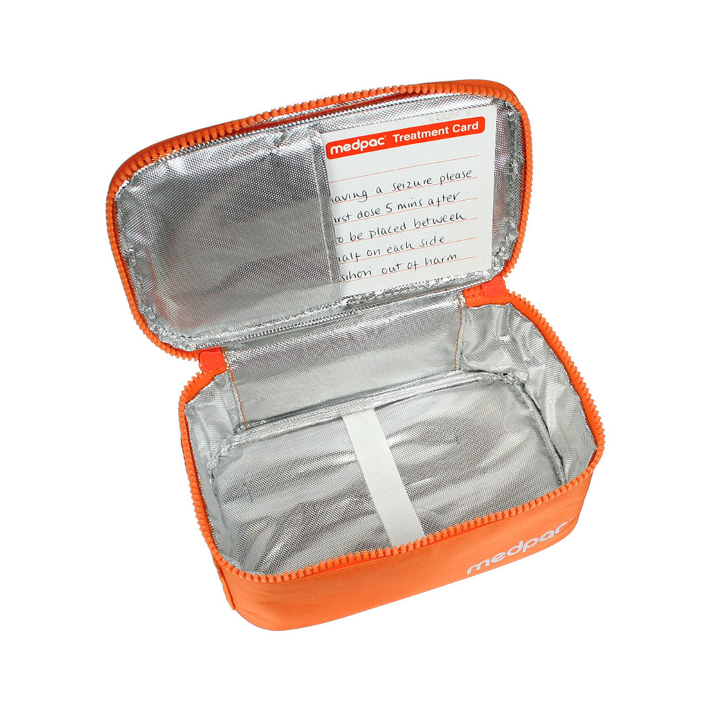 large medpac insulated open showing elastic strap and treatment card