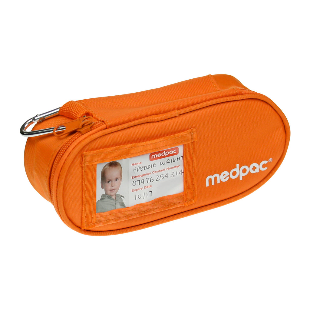 small medpac standard front view with ID card and metal carabiner on top