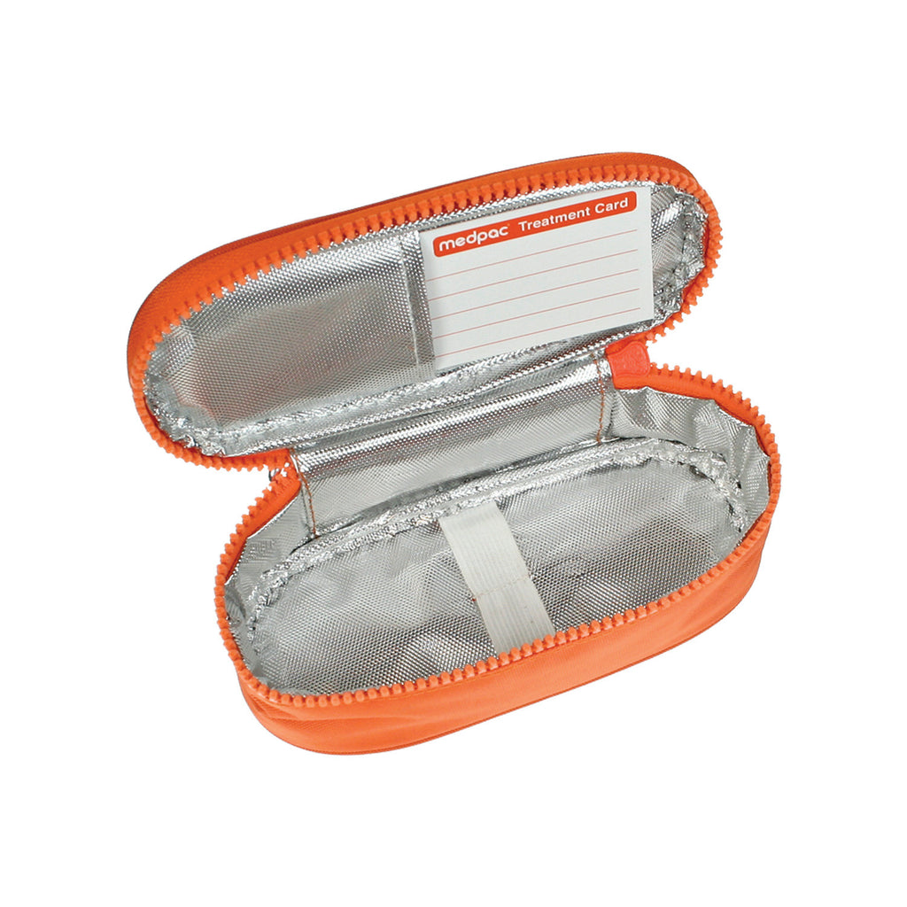 small medpac insulated open showing elasticated strap and treatment card
