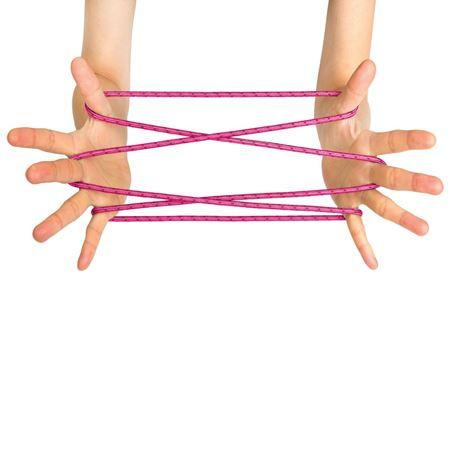 Cat's cradle in pink, demonstrated on hands