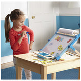 Deluxe Double-Sided Tabletop Easel, little girl with whiteboard