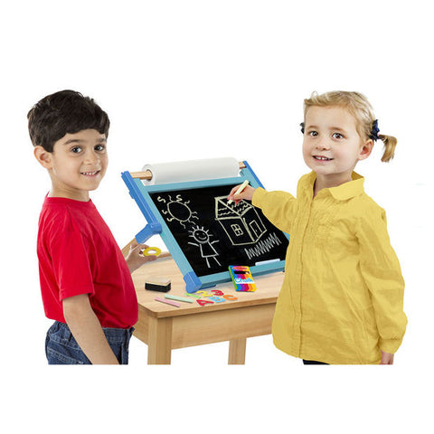 Deluxe Double-Sided Tabletop Easel, two children with blackboard