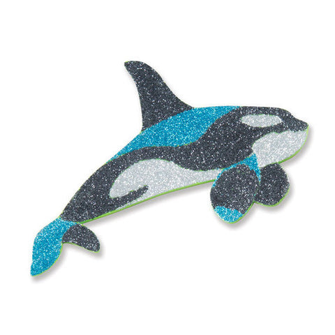 Mess free glitter ocean foam killer whale sticker out of packaging