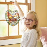 Butterfly stained glass - girl hanging in window