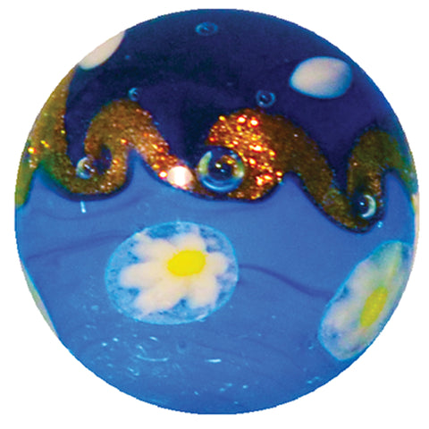 Handmade Tahitian Wave Marble (Small) 16mm, blue colour