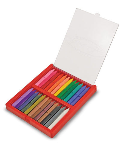 24 Triangular Crayons, in open case