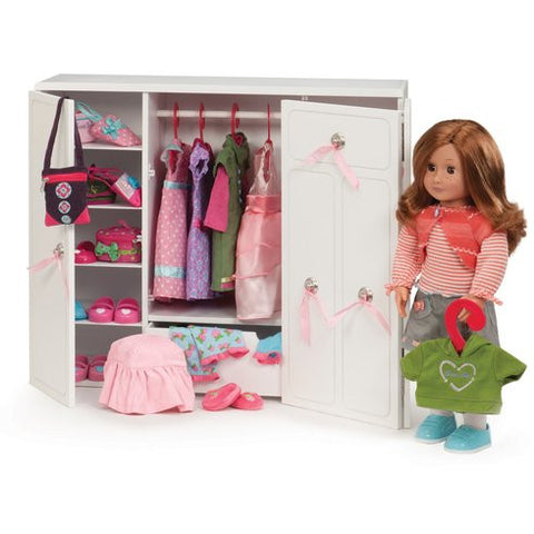 Wooden Wardrobe - Our Generation Accessory, posed with doll and accessories