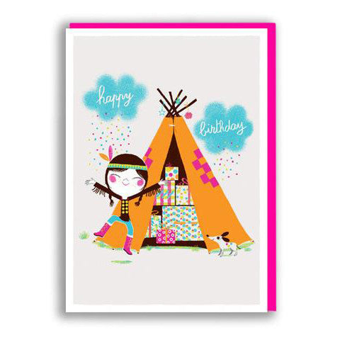 Wigwam Girl Birthday Card