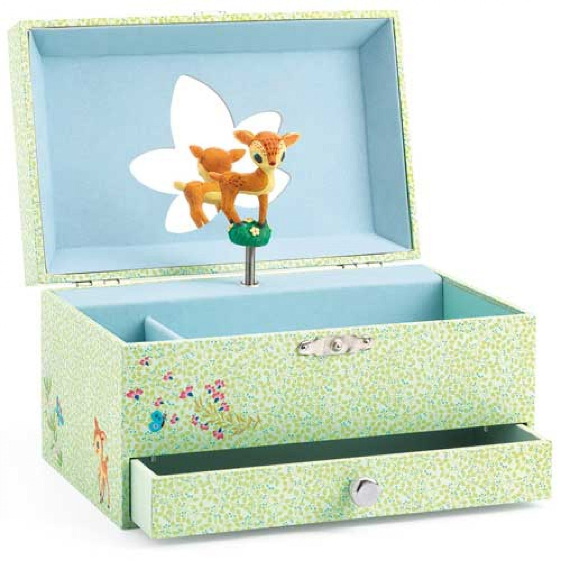 The Fawn's Song - Musical Box, open displaying mirror and fawn