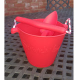Red scrunch bucket with matching scrunch spade