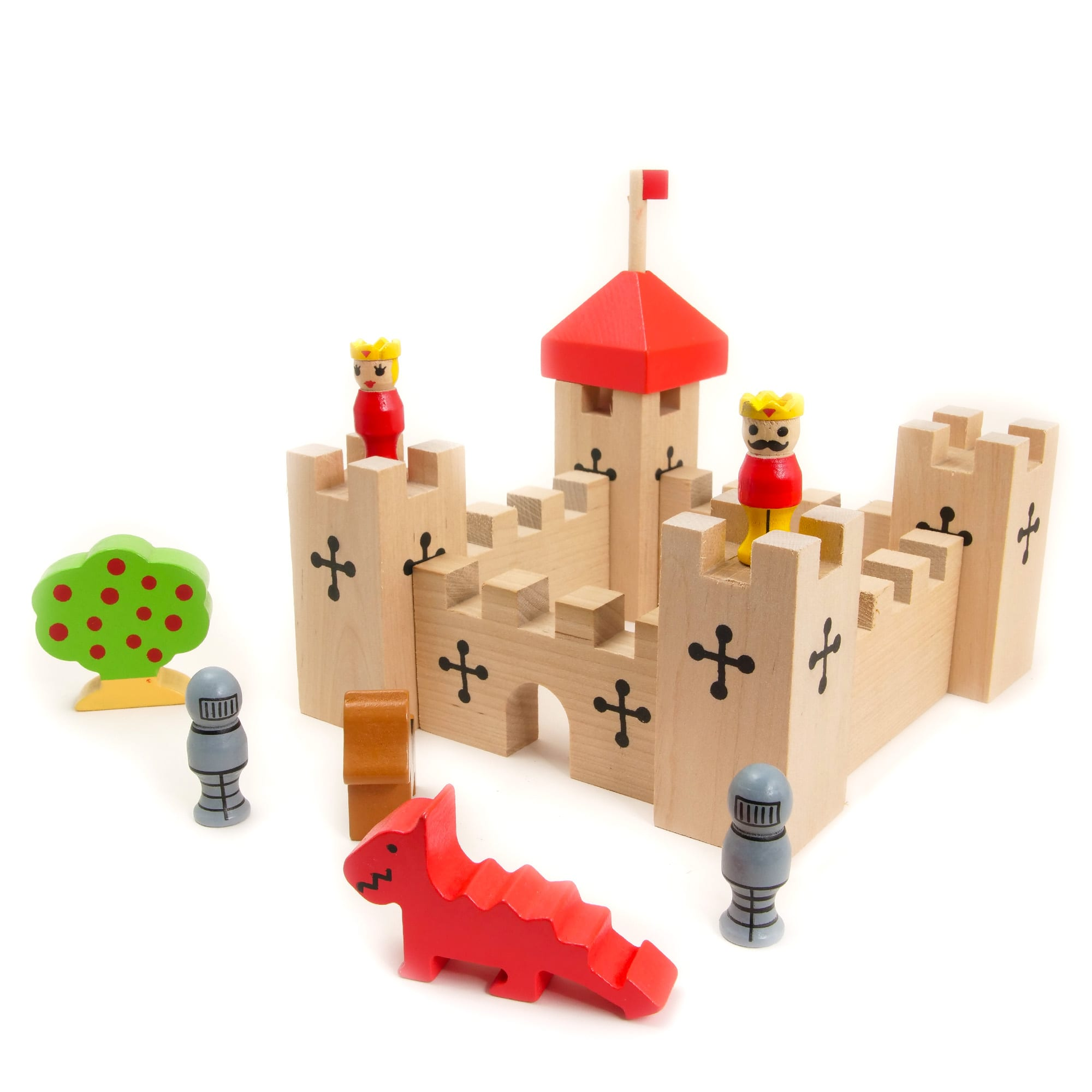 Wooden Castle Playset in a Bag, contents out of bag