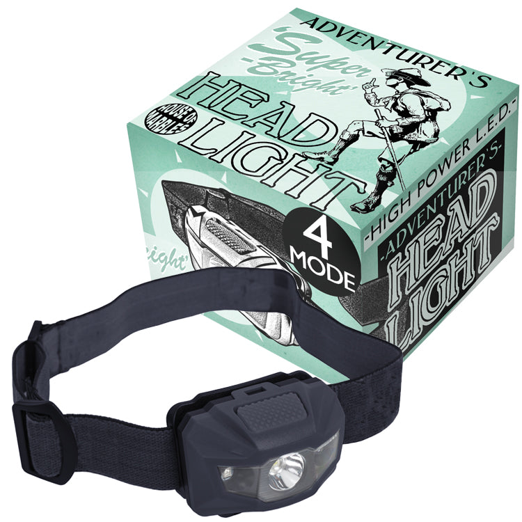 Adventurer's Headlight / Head Torch, box and product