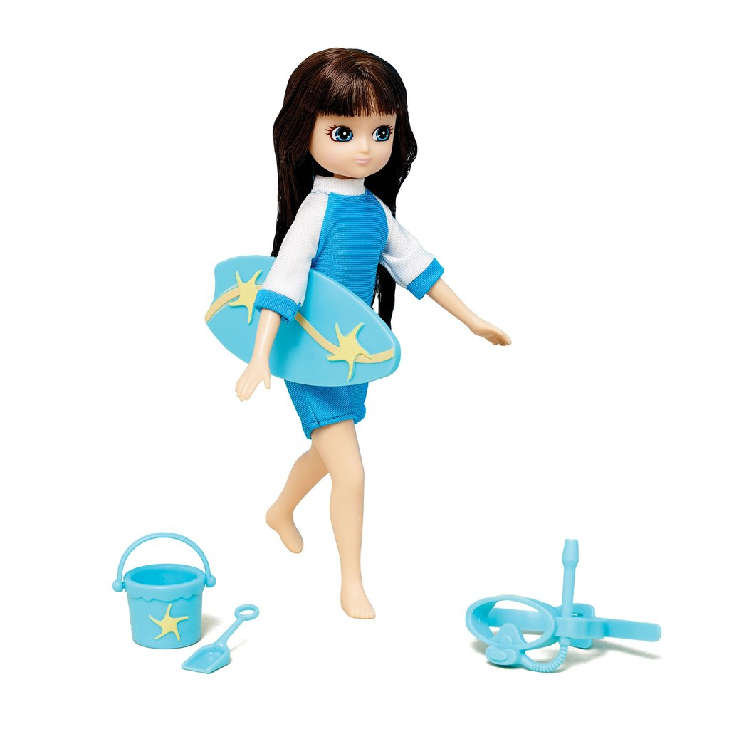 Body Boarder - Lottie Doll Accessory Set, posed with doll