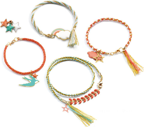 'Celeste' Kumihimo Bracelets Kit by Djeco, finished bracelets