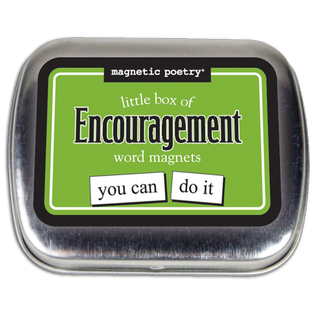 Magnetic Poetry Little Box of Words: Encouragement, closed tin