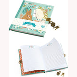 Lucille Lockable Notebook - open and closed book and lock and keys