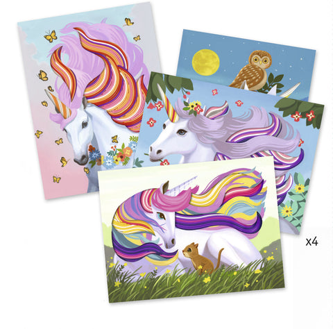 Magic Manes by Djeco, 4 different unicorn cards to decorate