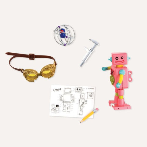 Scientific accessories out of the box including googles and robot.