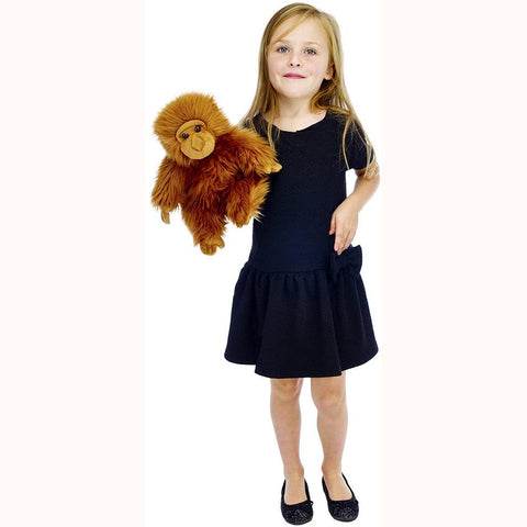 Orangutan Hand Puppet (Full-Bodied) with girl for scale