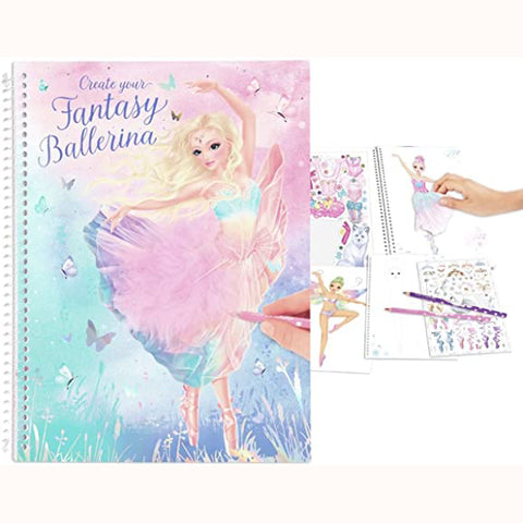 Create Your Fantasy Ballerina Colouring & Sticker Book, front of book and sample pages with hand