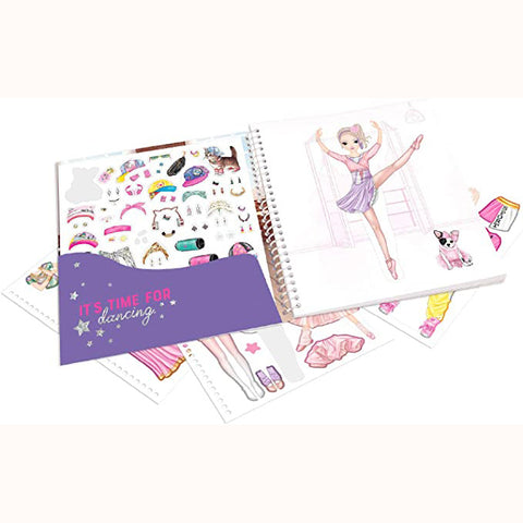 Top Model Dance Dress Me Up, inside flap with stickers and ballerina page