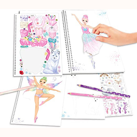 Create Your Fantasy Ballerina Colouring & Sticker Book, sample pages with hand