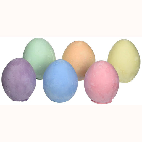 6 coloured egg chalks , out of packaging