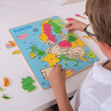 Wooden Europe Inset Puzzle, child completing