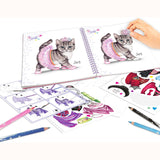 Create Your Top Model Kitty Colouring Book, inside pages being completed with stickers