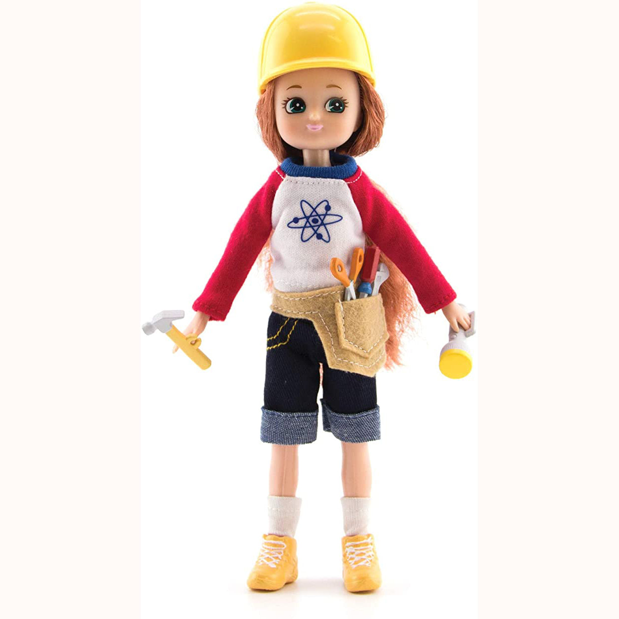 Young Inventor Lottie Doll, unboxed with tools and hat