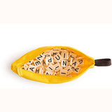 Bananagrams, open bag, top down view, showing tiles