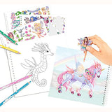 Create Your Fantasy Friend Sticker Activity Book, hand creating design with sticker