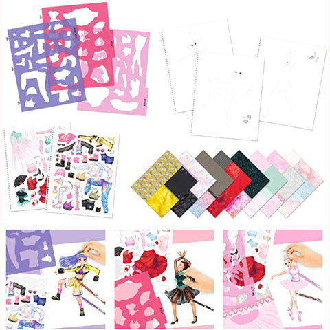 Top Model Dance Colouring Book, stencils, stickers and collage